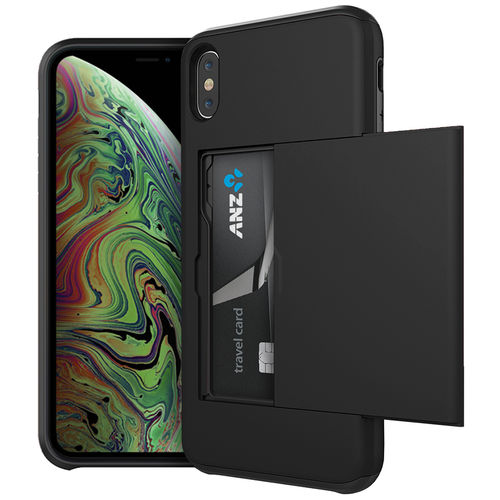 Tough Armour Card Holder Slide Case for Apple iPhone Xs Max - Black